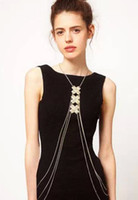 Wholesale British Girl Tide Brand Big Cross piece Metal Multilayer Body Chain Necklace B142
