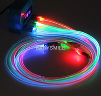 Wholesale hot LED Visible ROUND Micro USB V8 V9 Charger Cable M for Samsung S3 S4 Data Smile Light Up Flashing Rubber Cord for Note3