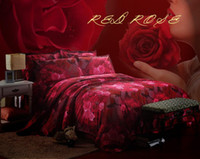 Twill 4 pcs Reactive Printing 3d bedding sets queen oil painting print 4pcs bedclothes red rose comforter sets flowers bed set Do not fade bed linen