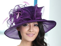 organza church hats - New Arrival Women Hat Organza Wedding Dress Hat Church Hat Samlll Brim Feather Pink Purple Colors Available