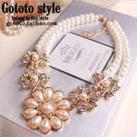 Mexican pearl choker necklace - Luxury Flower Pearl Gem Wedding Shourouk Bib Collar Choker Statement Necklaces amp Pendants New Fashion Jewelry Women Hot