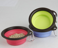 plastic dog bowl - Pet Dog Cat Bowl Puppy Food Feeder Collapsible Expandable Foldable Color Water Travel Bowl Dish