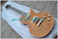 Wholesale NEW MODEL Chinese OEM LP Guitar amber color tiger flame maple top SLASH electric Guitar