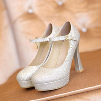 Formal Pumps High Heel 2014 Sexy Wedding Shoes Silver Gold Scrub Waterproof Sequins Pumps Party Prom Nightclub Shoes EM02744