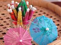 Wholesale New Arrive Paper Cocktail Parasols Umbrellas drinks picks wedding Event amp Party Supplies Holidays luau sticks