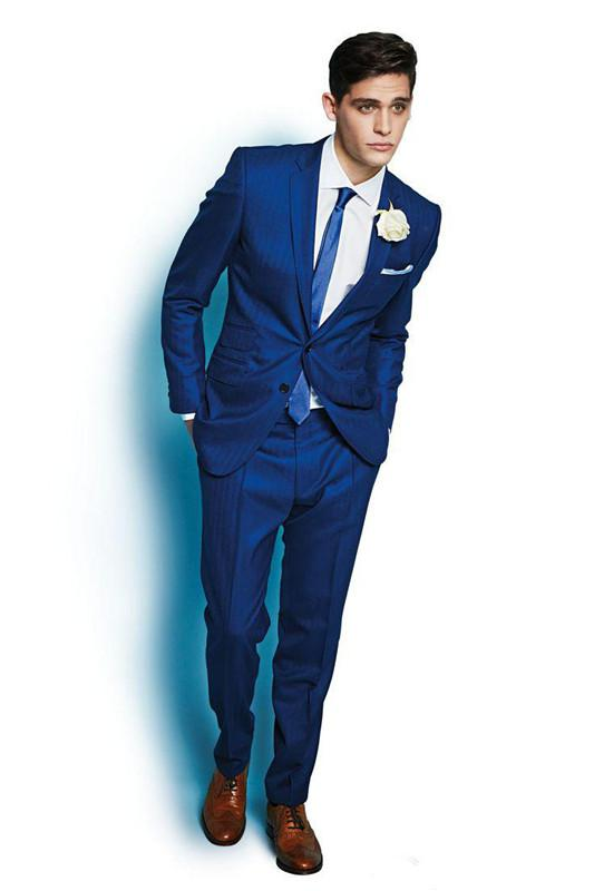 Fashion Trend Newest Style Italy Royal Blue Custom Made Men'S Suit