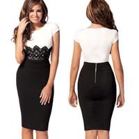 Mini Dresses xxl clothes - 2014 Fashion OL patchwork lace women evening dress Midi Bodycon part Dresses Women s Clothing S M L XL XXL