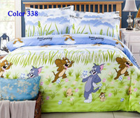 Silk / Cotton 40 4 pcs Cartoon Animal Bedding set Sets Bedclothes twin full queen king Size Bedding Mouse and Tom bedspread bed set home textile