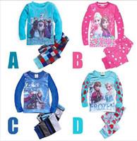 Wholesale HOT New Baby Elsa Princess Pyjamas Girls Frozen Pajamas set Anna s Pijama Kids Clothing set Printed Sleepwears