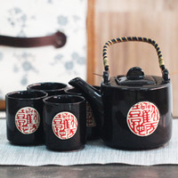 asian tea sets - Home Handmade Pieces Ceramic Japanese Tea Set Black with Handpainted Chinese Calligraphy Bamboo Handle Vintage Asian Gifts