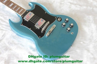 Solid Body 6 Strings Mahogany SG Metallic Blue Mahogany Body Rosewood Fingerboard H-H 2 Pickups Metallic Paint Finish Jade Tuning Machine Electric Guitar No.0042-45 FS