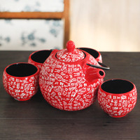 Wholesale Home Handmade Pieces Ceramic Japanese Tea Set Red with Handpainted Chinese Family Names Iron Handle Vintage Asian Gifts