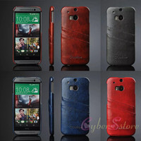 Wholesale For HTC One M8 Fashion Hybrid Vintage Retro Ultrathin Leather Hard PC Case Cover With Credit Card Holder for HTC One M8