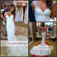 Wholesale 2014 Sexy New Cap Sleeves Lace Mermaid Wedding Dresses Applique Beaded Backless Court Train Bridal Gowns BO6362