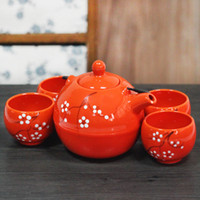 ECO Friendly asian tea sets - Home Handmade Pieces Ceramic Japanese Tea Set Orange with Handpainted Chinese Plum Blossom Iron Handle Vintage Asian Gifts