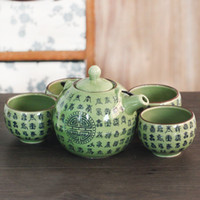 asian green tea - Home Handmade Pieces Porcelain Japanese Tea Set Green with Chinese Oracle Bone Inscriptions Iron Handle Vintage Asian Gifts