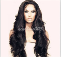 Wholesale 100 Brazilian Human Remy Hair Body Wave Front Lace Wig Human Virgin Hair quot quot Natural Black Swiss Lace With Bleaches Knots
