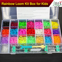 Wholesale rainbow loom bands kit Bracelet clear plastic box for Kids DIY bracelets come with rubber bands clips hook DHL Free Ship
