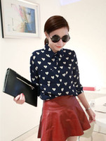 Regular Acetate Button 2014 new fashion hot cozy t shirt women clothing girl shirt sexy print Heart cool sexy spring shirt