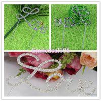 Wholesale Monogram Tone Love Cake Topper Rhinestone Silver Love Wedding Decor Supplies