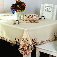 Wholesale Beige Embroidered Lace Dining Tablecloth Tea Table Cloth Cover Tablecloths Square And Round Home Decoration