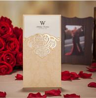Cheap Invitations & Invitation Buckles wedding invitations laser Best Folded Gold laser cut invitations