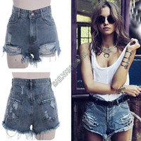 Women Skinny Zipper Fly 2014 new summer Women vintage High waist shorts jeans feminino Ripped Hole short denim female distress cutoffs shorts sv00535