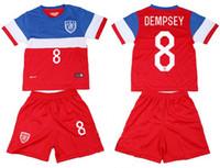 Wholesale 2014 Dempsey United States kids children youth soccer football jersey kits shirts shorts