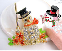 Wholesale F204 European and American trade jewelry gift of choice over drilling cute Christmas snowman brooch