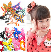 Wholesale New Cloth Fabric Polka Dot Stripe Bunny Ear Hair Kids Elastic Bands Hair Ropes Baby Girls Hair Accessories