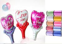 Bubble aluminium ribbon - 8 off IN STOCK cm Peach s heart Valentine s Day Handheld stick balloons Love balloons Free gift ribbon CM DROP SHIPPING50pcs GX