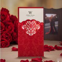 Cheap Invitations & Invitation Buckles laser cut invitations Best Folded Red red wedding invitation