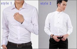 Nouveaux hommes blancs de coton de style Wedding / Prom / chemises de marié de dîner Porter la chemise d'homme d'époux (37--46) D52