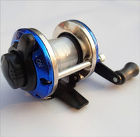 Wholesale 2016 Blue Fishing Reel Plastic Rocker Arm Fish Tackle Right Hand Wheel Droplets Round Baitcaster Baitcast Lure Freshwater Low Profile Reels