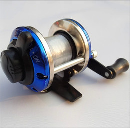 Wholesale 2015 Blue Plastic Rocker Arm Fishing Reel Fish Tackle Right Hand Wheel Droplets Round Baitcaster Baitcast Lure Freshwater Low Profile Reels