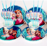 Wholesale Frozen movie happy birthday party decoration supplies favors plates cups straws for people Frozen party decoration