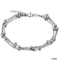 Romantic Women Fashion Wholesale-407-Fashion White Gold Platinum Plated Anklet Girl Cute Beads Ankle Bracelet Jewelry Big Promotion Cheap Price 206