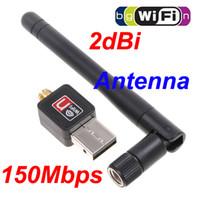 achat en gros de n réseau adaptateur-Mini 150M (150Mbps) Carte réseau sans fil USB WiFi 802.11 n / g / b Adaptateur LAN avec antenne C1289