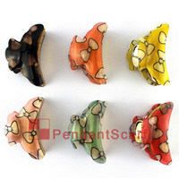 Wholesale 12PCS Fashion Hairpin Jewelry Colors Mixed Bow Tie Design Hair Clip Acrylic Hair Claw Accessories JW0003