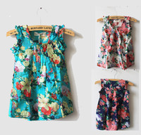 Wholesale MN Girls new style chiffon dress Summer Hawaiian flower dresses for girls