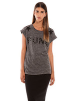 Women V-Neck Regular New 2014 Spring Women Clothing Casual T-shirt Print Letter PUNK O-Neck Slim T-shirt with Rivet Short Sleeve T-shirt in Stock
