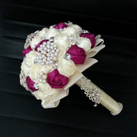Wholesale Ivory Wine Color Wedding Bouquet Handmade Pearl And Diamond High Quality pc B43CJP