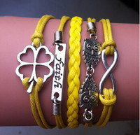 Wholesale 2014 new fashion infinity love anchor wrap link bracelet purple friend ship wrap link bracelet choose