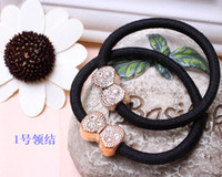 other dollar store - Yiwu hair accessories hair rope drill deduction grade gold rope bow hair ring dollar store supply B20