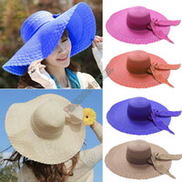 Wholesale High Quality Summer Straw Bow Large Brim Hat Strawhat Beach Hat Sunbonnet Fashion Women Cap Colors SV002034