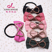 Wholesale Korean version of the cloth hair accessories dot bow tie hair ring hair rope Tousheng Yiwu sourcing dollar store B50