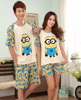 Wholesale 2 pieces set woman and men nightwear knit cotton night wear for Minions cartoon pjs lady s sleep lounge homewear couples pyjamas SY9