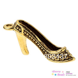 Wholesale Charm Pendants High Heeled Shoes Gold Tone mm x mm B31104