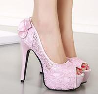 Wholesale Adorable bowtie lace shoes peep toe platform high heels pumps fashion women dress shoes wedding shoes cm size to