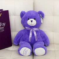 Wholesale High Quality Birthday Valentines Gift Wedding Plush Toy Teddy Bear Doll Purple Size cm